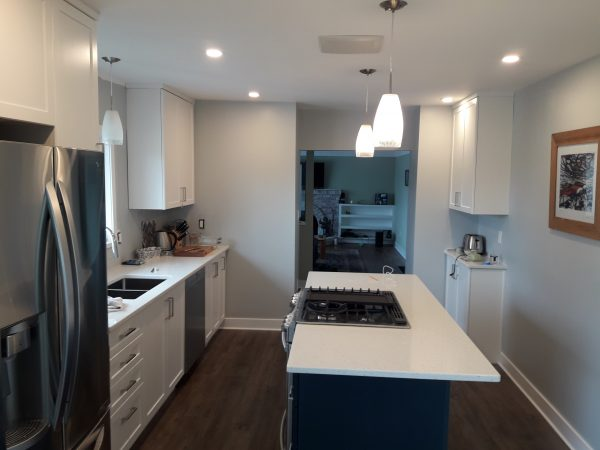 a photo of a complete interior kitchen renovation